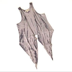 Decree Long Flowy Open Waterfall Vest Tye Dye